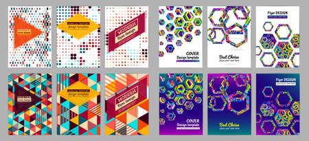 Set of halftone modern background patterns. Abstract circle vector design element for poster, flyer, cover. Geometric shapes brochure template. Çizim