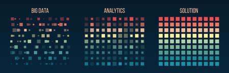 Big data visualization. Information analytics concept. Abstract stream information. Filtering machine algorithms. Sorting binary code. Vector technology background. Vektoros illusztráció