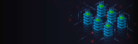 Big data analysis processing. Network connection and information exchange. Creative Web hosting banner. Information flow on the black background. Abstract futuristic data center. 矢量图像