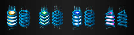 Big data analysis processing. Network connection and information exchange. Creative Web hosting banner. Information flow on the black background. Abstract futuristic data center.