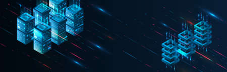 Hi-tech computer concept. Futuristic illustration of colorful light rays. Technology stripe glowing lines. Digital communication. Speed and motion blur over dark background. Web banner