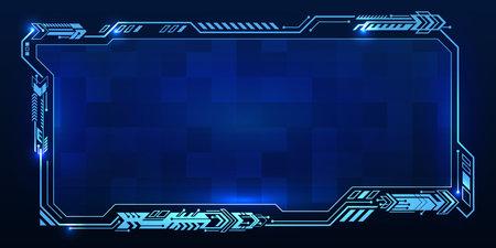 Abstract futuristic technology interface design. Sci Fi control display. Creative vector HUD GUI, UI interface screen design. User Interface for web banner, presentation. Hi-tech elements background.