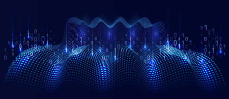 Filtering machine algorithms. Cube Big data visualization. Information analytics concept. Sorting data. Vector technology background. Abstract stream information with squares array and binary code.