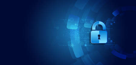 Data security system, information or network protection. Cyber security and data protection. Padlock icon, future technology for verification. Abstract circuit board.