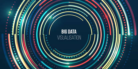 Filtering machine algorithms. Sorting data. Vector technology background. Big data visualization. Information analytics concept. Abstract stream information with circles array and binary code.