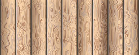 Realistic brown wooden cutting. Natural wood background, table or floor surface. Wood texture vector illustration.