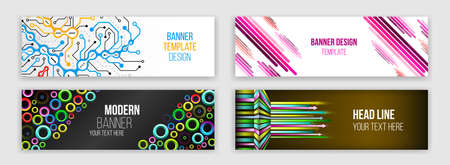 Abstract web design banner. Modern graphic template for websites. High tech futuristic technology background. Illustration
