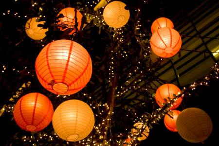 lantern paper japanese background group Stock Photo