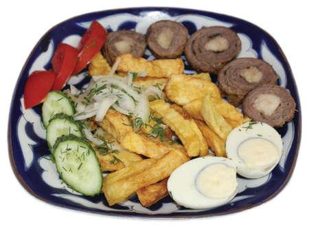 uzbek: Uzbek cuisine, langet on white background