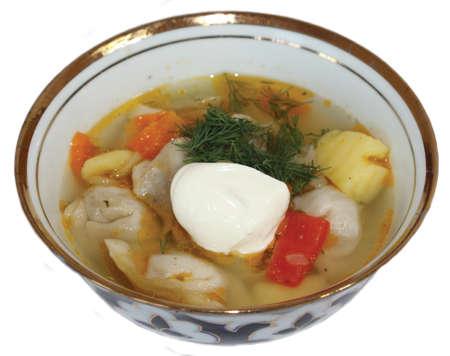 uzbek: Uzbek cuisine, dumplings at home on a white background