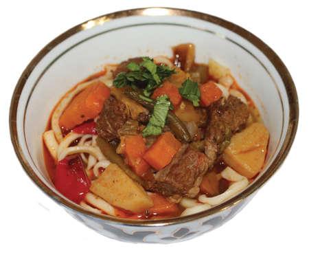uzbek: Uzbek cuisine, lagman in Uzbek on white background