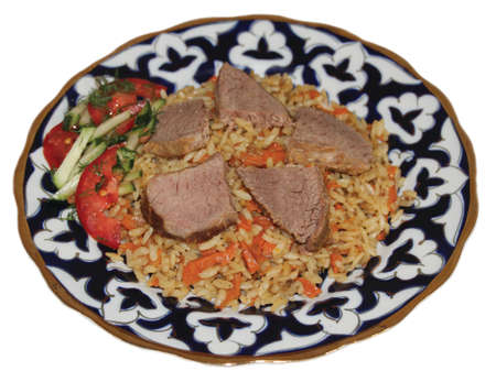 uzbek: Uzbek cuisine, rice on white background Stock Photo
