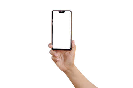 The hand is holding the white screen, the mobile phone is isolated on a white background