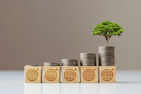 The tree grows from the coin that is on the square wooden block and the goal icon, financial goal concept and financial success.