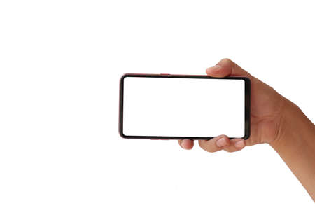 Hold a phone with a white screen horizontally isolated on a white background with the clipping path.