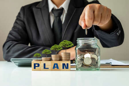 The money tree planting sequence includes a cube labeled PLAN, planning concepts in business finance and environmental investments.