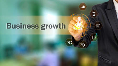 business people choose growing graph icon and business growth icon technical and strategy ideas for business growth.