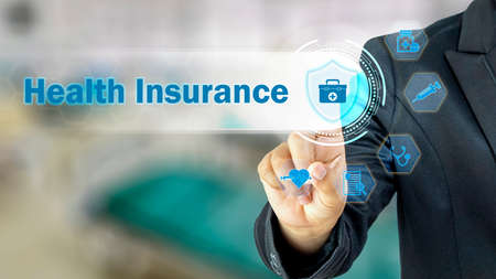 Business people choosing to icons related to health insurance medical personnel Medical treatment and benefits, health insurance concepts. and investment in the health insurance business