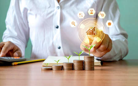 Trees grow on piles of money including businessmen choosing growing graph icons and business growth icons. Technical concepts and strategies for business growth.