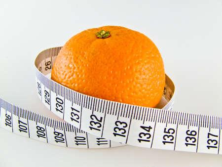 mandarine: mandarine with measure Stock Photo