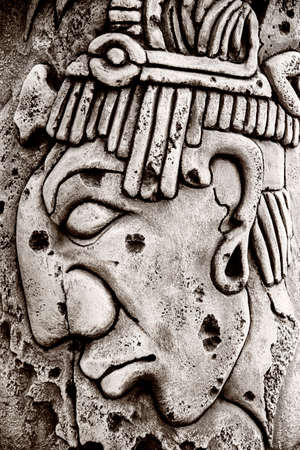 Indian mayan carved in stone