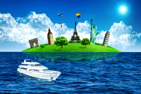 touristic: European holidays. Traveling background. Concept