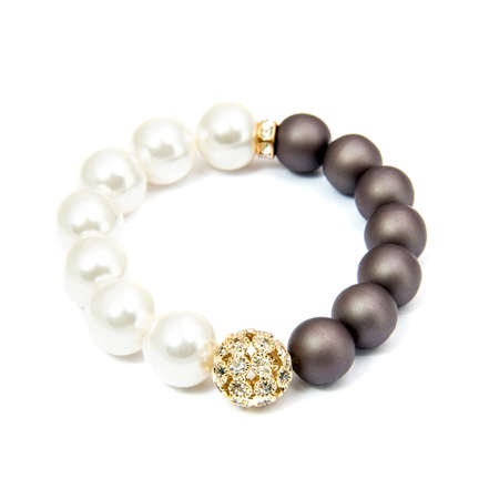 Fashion pearl bracelet isolated on white background Stock Photo