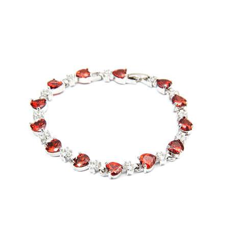 cuff bracelet: Ruby Bracelet isolated on white background Stock Photo