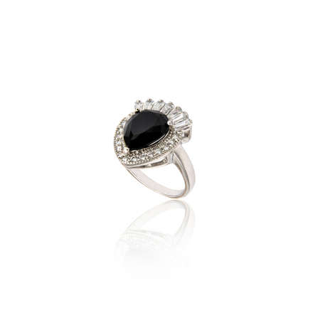 Black spinel diamond ring isolated on white background