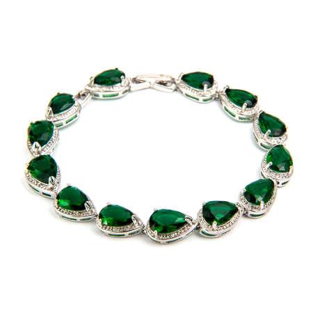 cuff bracelet: Emerald bracelet isolated on white background Stock Photo