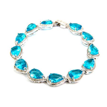 Sapphire bracelet isolated on white background