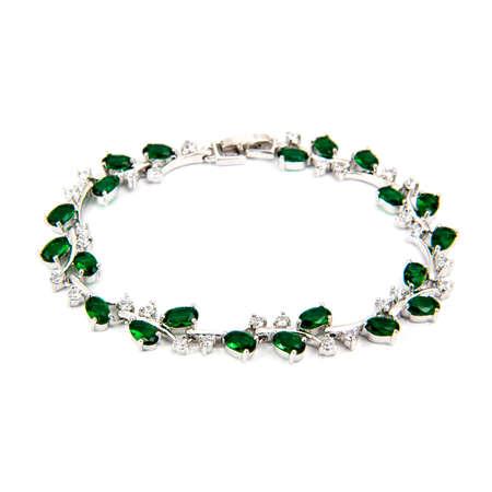Emerald bracelet isolated on white background