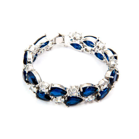 cuff bracelet: Sapphire bracelet isolated on white background