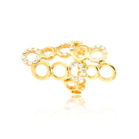 Golden diamond ring isolated on white Stock Photo