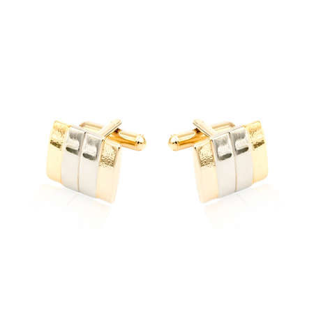 cuff: Golden cuff links on white background