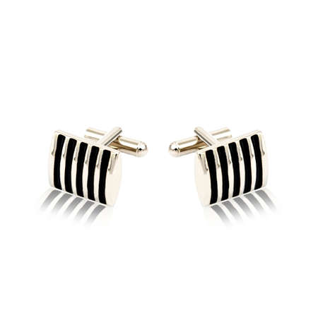 cuffs: Silver cuff links on white background