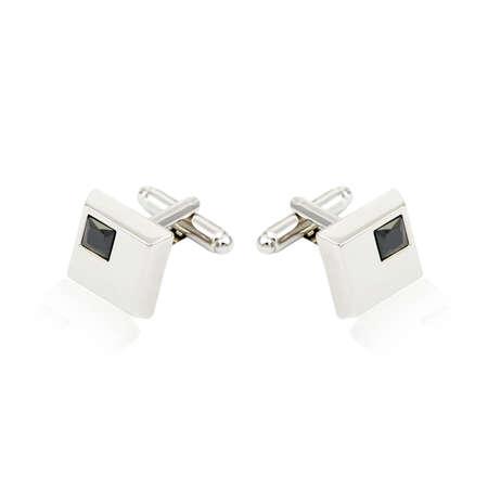 cuff: Silver cuff links on white background