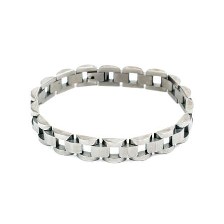 cuff: Fashion silver bracelet isolated on white background Stock Photo