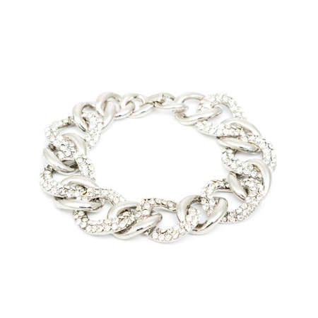 cuff bracelet: Silver diamond bracelet isolated on white background Stock Photo