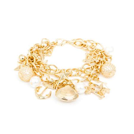 cuff bracelet: Fashion golden bracelet isolated on white background