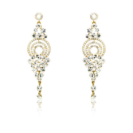 zafiro: Pair of golden diamond earrings isolated on white background Foto de archivo
