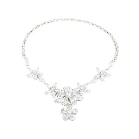 zafiro: Colgante de diamantes aislado sobre fondo blanco Foto de archivo