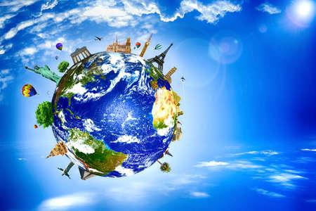 세계 여행 랜드 마크 개념입니다. 유럽 휴일 - 여행 배경. 스톡 콘텐츠