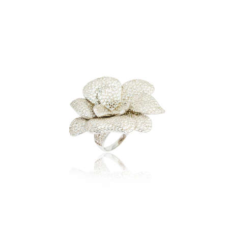 Silver diamond ring isolated on white background Stock Photo