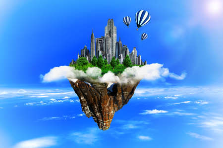 ville: Modern city in clouds. Business, ecology concept