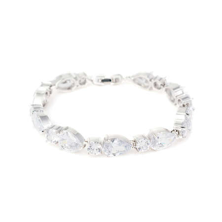 Silver diamond bracelet isolated on white background Stock Photo