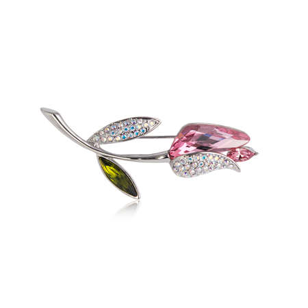 Diamond brooch isolated on white background 스톡 콘텐츠