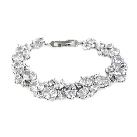 Silver diamond bracelet isolated on white background 版權商用圖片