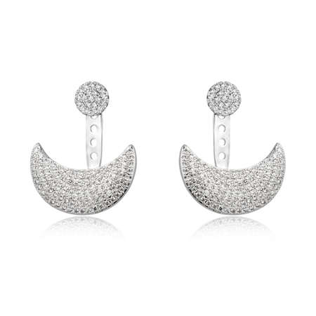 Pair of silver diamond earrings isolated on white background Stock Photo
