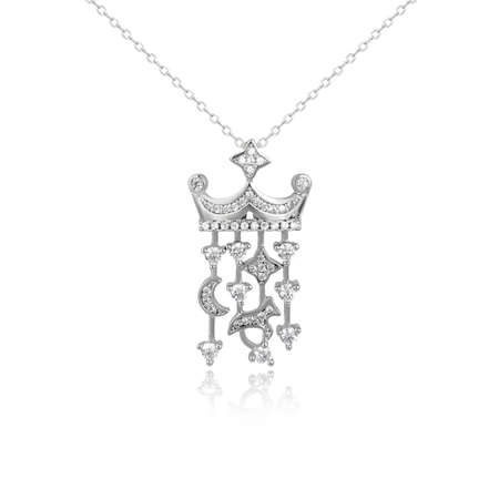 Silver fashion pendant isolated on white background Banco de Imagens